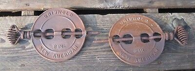 "(2) Griswold Erie Pa. Reversible 6"" New American Stove Pipe Damper Flue Covers"