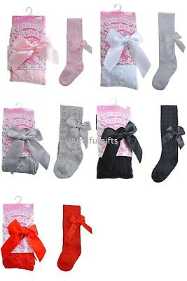 Baby & Girls Spanish Style Jacquard Heart & Bow Tights Soft Touch Up to 5 Years