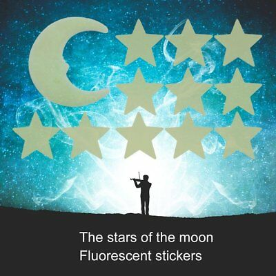 Stars Moon Glow In The Dark Fluorescent Decal Wall Stickers Home Decoration UK