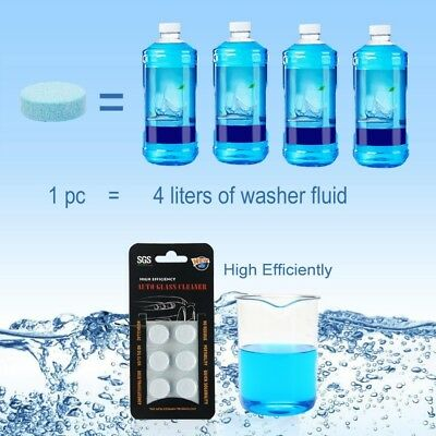 6 pcs Solid Washer Concentrate Making Up Windshield Washer Fluid Screen Wash