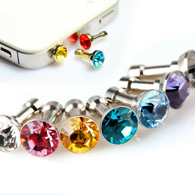 ALS_ 5Pcs Crystal Rhinestone Anti Dust Cap Earphone 3.5mm Jack Plug for Cellphon