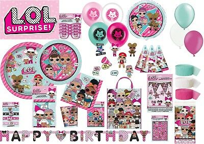 LOL Surpise Happy Birthday tableware plates napkins Cups Balloons Cute Dolls