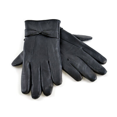 Ladies Leather Gloves with Bow Soft Warm Winter Lined Dress Gloves 7 Colours