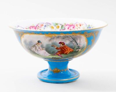 """1847 Sevres Porcelain Celeste Blue & Gold Footed Bowl Courting Couple 5"""" Tall"""