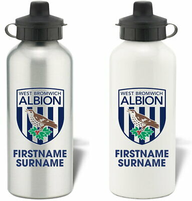 Personalised West Bromwich Albion FC Bold Crest Water Bottle - Free Delivery