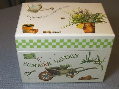 "Marjolein Bastin Nature's Sketchbook 4 x 6"" Recipe Box + 45 Cards Herbs Garden"