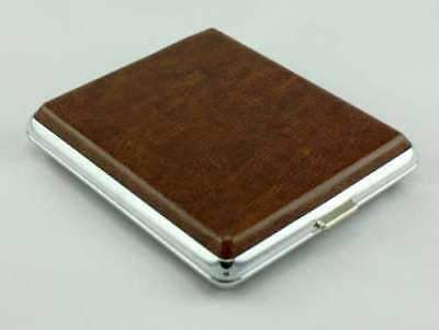 Metal Leather Double Sided King Size Cigarette Case - Brown