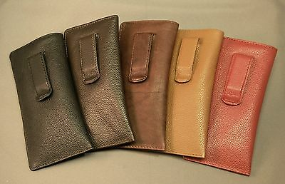 Premium Leather Eyeglass / Glasses Case with CLIP - Various + 2fer offer