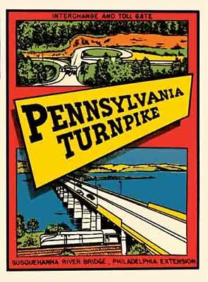 Pennsylvania Turnpike   vintage looking 1960's travel Decal bumper sticker