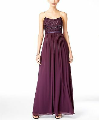 Nwt $549 Adrianna Papell Women'S Silver Sequin Beaded Chiffon Gown Dress Size 14