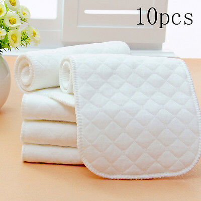 10 Pieces Reusable Pure Cotton Baby Cloth Diaper Nappy Liners Insert 3Layers F1