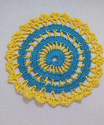 Parakeet Blue in Golden Rod  Bumblebee doily Approximately 5 Inches.