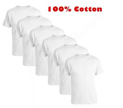 Pack of 1x 3x 6x Boys Girls Kids White T-Shirts Plain 100 % Soft Cotton Uniform