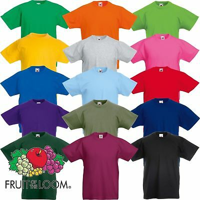 Pack 1x 2x 3x 5x Fruit Of The Loom Mens Womens Boys Girls T-Shirts Plain Cotton