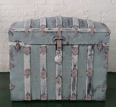 Camel Back Painted Blue/Pink/White Steamer trunk antique 1900's Distressed