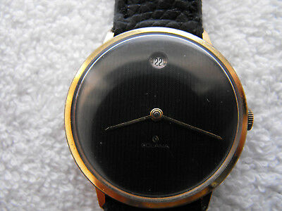 Beautiful Vintage GOLANA Swiss Made Watch Black Dial Gold Plated #1172