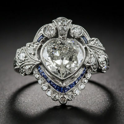 CERTIFIED ART DECO 3.05Ct WHITE SAPPHIRE COCKTAIL ENGAGEMENT 14K WHITE GOLD RING