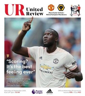 PRE-ORDER Manchester United v Wolves 2018/19 brand new football programme