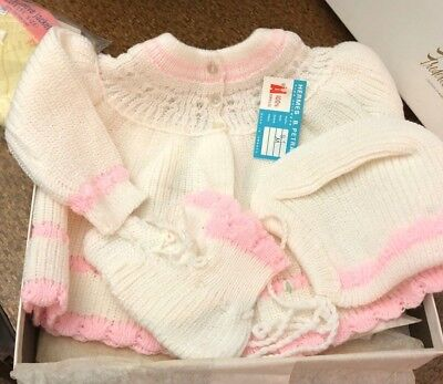 Vintage Knit Baby Girl Layette Marshall Field NWT NOS Made in Greece 4 pc lot