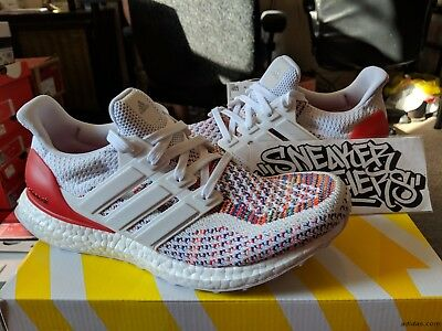 3698a35aa73 Adidas Ultra Boost M 2.0 White Red Multi-Color Running Black Men s BB3911