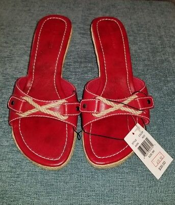 b87d3cdefa9 NWT Lord   Taylor Red Nautical Sandals w  Jute Wedge Heel Women s Size ...