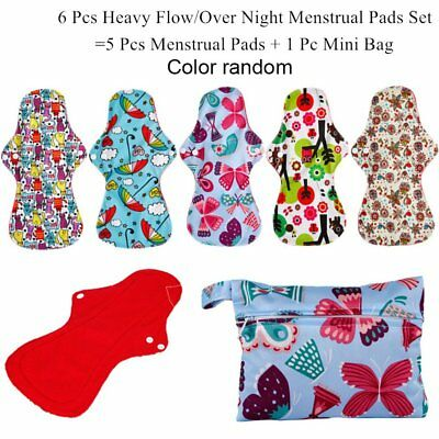 Washable Reusable Hygiene Pad 5 Pcs Menstrual Pads + 1 Pcs Bag FK