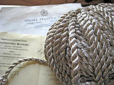 """1 yd Vintage Antique French Silver Metallic Rope Cord Trim 3/8"""" Lampshade Pillow"""