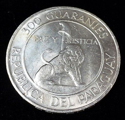 Paraguay Silver 1968 300 Guaranies KM 29 in Uncirculated Only 250,000 Minted!