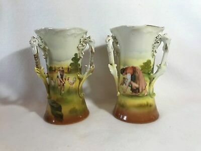 Vintage Royal Bayreuth Farm Scene #ROB414-A Pair Of 3 Handled Mantel Vase/Urn's