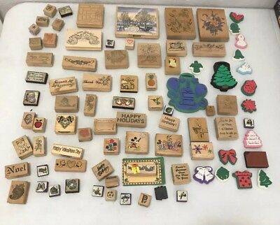 Big LOT of +5lbs Mixed Wooden Block Rubber Stamp Sets Wood All Occasions Disney