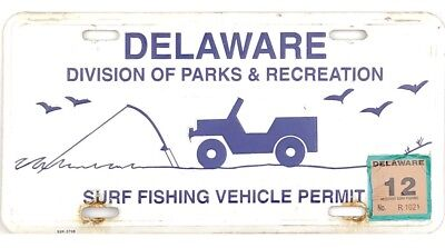 Current Style 2012 Delaware SURF FISHING VEHICLE License Plate