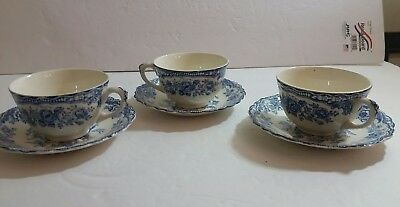 Set of 3 Blue Crown Ducal Bristol Tea Cup and Saucers