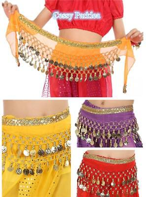 Kids Girls Belly Dance Coin Belt Hip Scarf Skirt Wrap Bollywood Dancing Costume