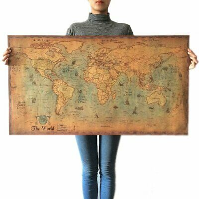 Nautical Ocean World Map Large Vintage Retro Old Paper Poster Home Decor New EU