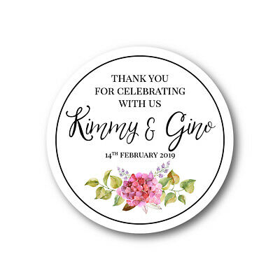 Personalised Thank You Wedding Sticker Floral Wreath