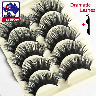 5/10 Pairs Natural Dramatic False Eyelashes THICK LONG WISPY Lashes Mink Makeup