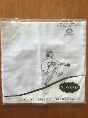 BOWLS  Pure cotton White Hankie Handkerchief  by SEWARD New ..Free Post..