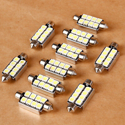 10x 8 SMD LED 5050 Side Number Plate Interior Dome Map Car Light Bulb Lamp
