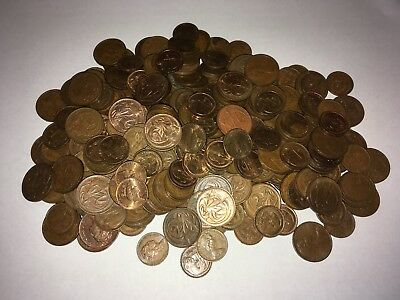 Bulk Australian 1 and 2 cent coins, 1050 Grams, Checked For 1968 And SD