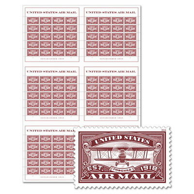 USPS New United States Air Mail (Red) Press Sheet