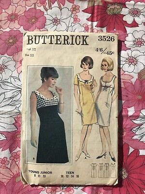 BUTTERICK 3526 sewing pattern Complete 1960s Vintage retro Dress Bust 32