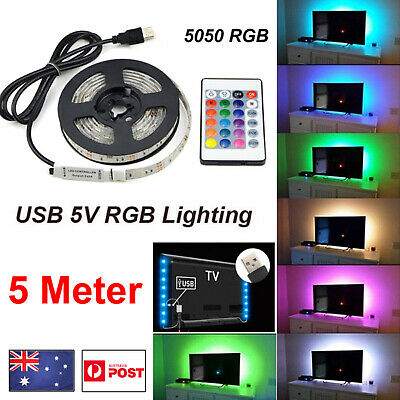1/2/3/4/5M  Waterproof 5050 RGB USB LED Strip Light TV Back LAMP + 24 IR Remote