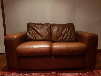Two Seater Brown Leather Sofa in Art Deco Style