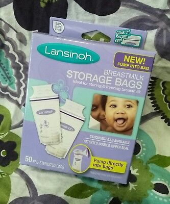 Lansinoh Breastmilk Storage Freezer Bags 50 Count NEW Double Click n Secure Seal
