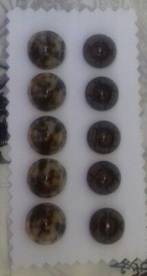 Antique Vintage Buttons Collectable 10 brown plastic lot 1940's  sewing craft