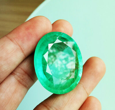 Top Color! 140.25Cts. 36x31 mm. Oval GREEN EMERALD Columbian Corundum Gemstone