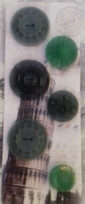 Antique Vintage Buttons Collectable 6 glass plastic 1930's 50's sewing craft