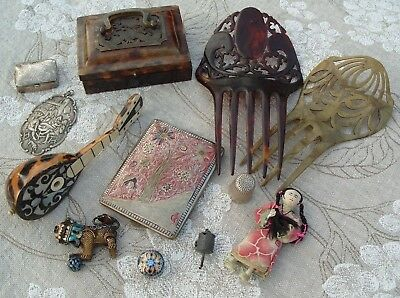 Antique Oriental Chinese Silver Cloisonne Faux Tortoiseshell Box Doll Thimble