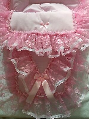 Stunning Romany Car Seat Cosy Toes/footmuff/decorated with pink lace