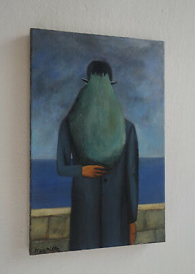 Fine Surreal Man with hat oil painting, signed, Rene Magritte with COA Dali Era